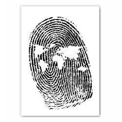World Map Fingerprint Print