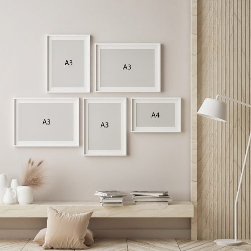Abstract Neutral Gallery Wall Print Sizes