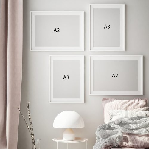 Abstract Pink Gallery Wall Print Sizes