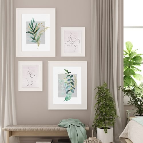 Leaves and Couples Gallery Wall