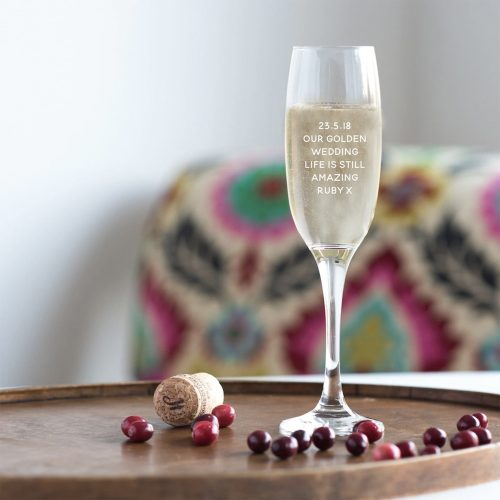 Personalised Golden Wedding Anniversary Champagne Glass