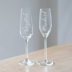 Personalised Mrs Champagne Glass or Crystal