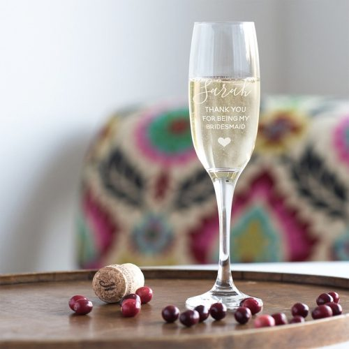 Personalised Thank You For Being My Bridesmaid Champagne Glass