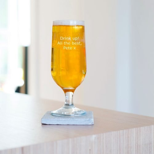 Personalised Message Craft Beer Glass Verdana Font