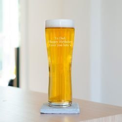 Personalised Message Pint Glass Cantata One Font