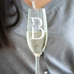 Personalised Floral Initial Champagne Flute