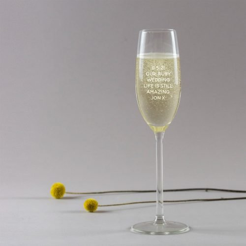 Personalised Ruby Wedding Anniversary Champagne Glass version