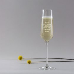Personalised Ruby Wedding Anniversary Champagne Glass Crystal version