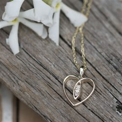 9ct Gold Heart Necklace with Diamonds