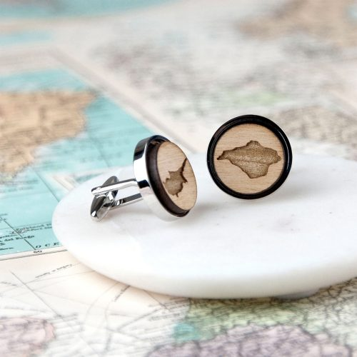 Wooden Personalised Map Cufflinks with Gift Box
