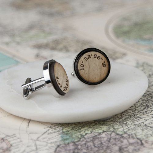 Wooden Personalised Coordinates Cufflinks with Gift Box
