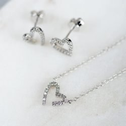 White Gold Diamond Heart Necklace with Personalised Gift Box