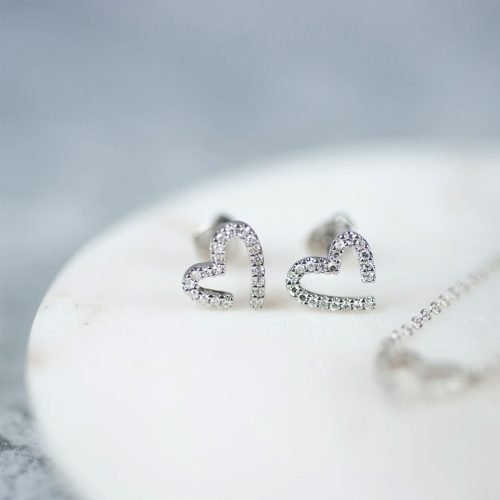 White Gold Diamond Heart Earrings with Personalised Gift Box