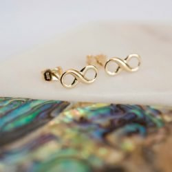 Gold Infinity Earrings with Personalised Gift Box