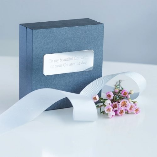 Silver Patterned Christening Bangle Personalised Gift Box