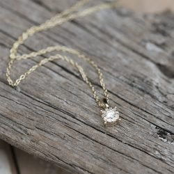 9ct Gold Solitaire Diamond Necklace with Personalised Gift Box