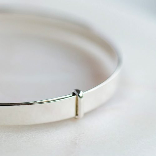 Polished Silver Christening Bangle