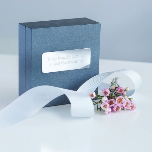 Polished Silver Christening Bangle Personalised Gift Box