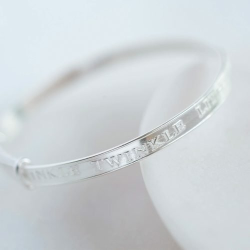 Twinkle Twinkle Little Star Baby Bangle with Personalised Gift Box