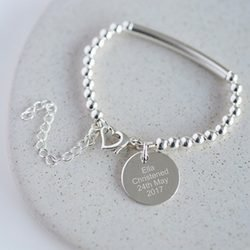 Personalised Heart Clasp Christening Bracelet with Gift Box