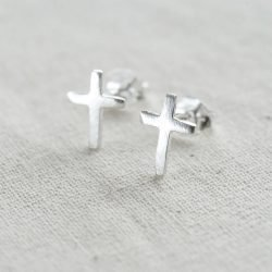 Sterling Silver Cross Earrings with Personalised Gift Box