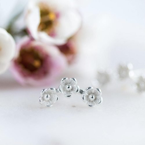 Silver Flower Stud Earrings with Personalised Gift Box