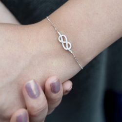 Cubic Zirconia Infinity Bracelet with Personalised Gift Box