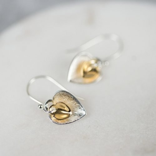 Double Heart Earrings with Personalised Gift Box
