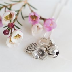 Silver Flowers Necklace with Personalised Gift Box