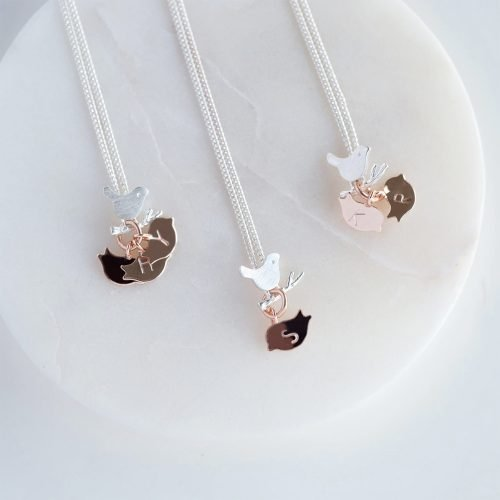 Personalised Family Birds Necklace with Gift Box