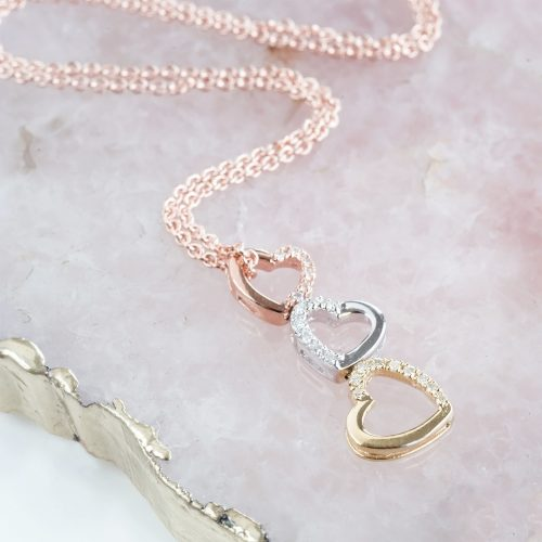 Tumbling Hearts Diamond Necklace with Personalised Gift Box