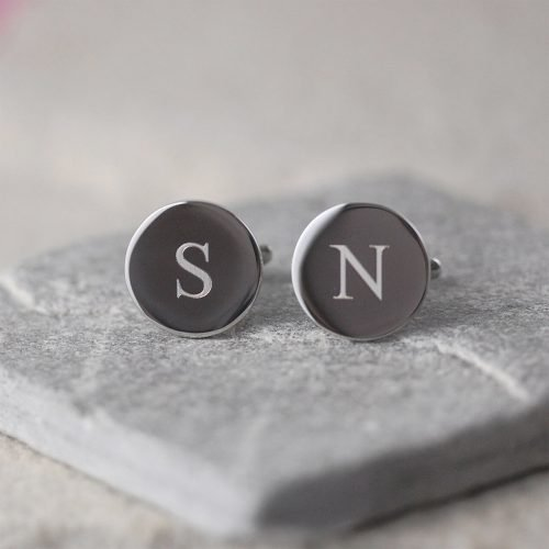 Personalised Circular Initials Cufflinks with Gift Box