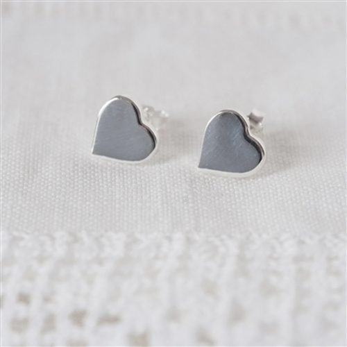 Sterling Silver Heart Earrings with Personalised Gift Box