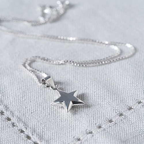 Sterling Silver Star Necklace with Personalised Gift Box