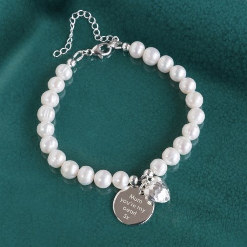 Personalised Pearl Pendant Bracelet with Gift Box