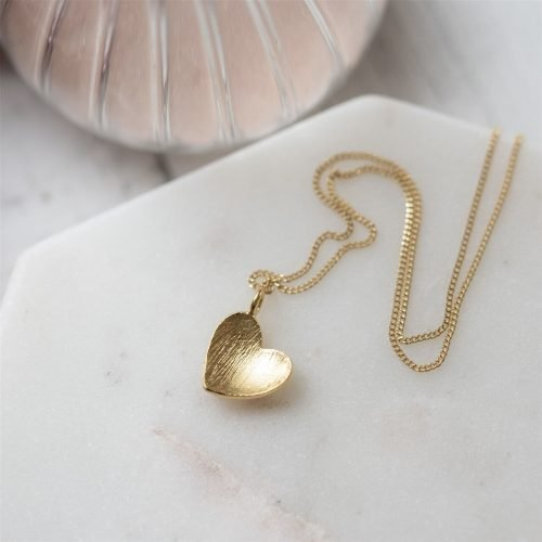 Plated Gold Heart Pendant Necklace with Personalised Gift Box