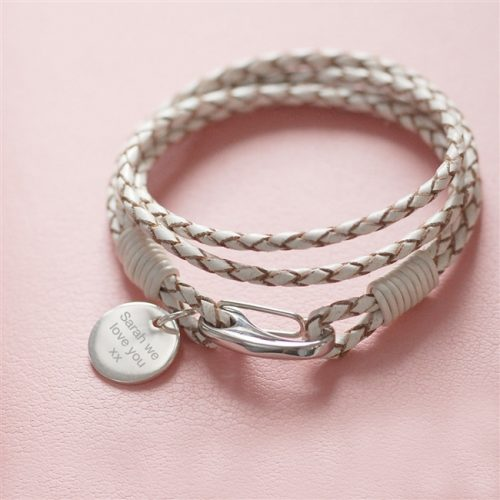 Personalised White Leather Wristband with Gift Box