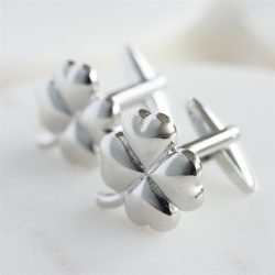 Lucky Clover Cufflinks with Personalised Gift Box