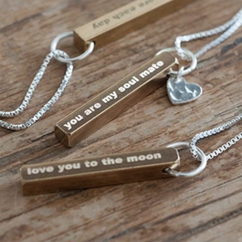 Personalised Brass Necklace with Personalised Gift Box