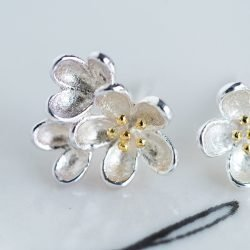 Sterling Silver Flowers Earrings with Personalised Gift Box