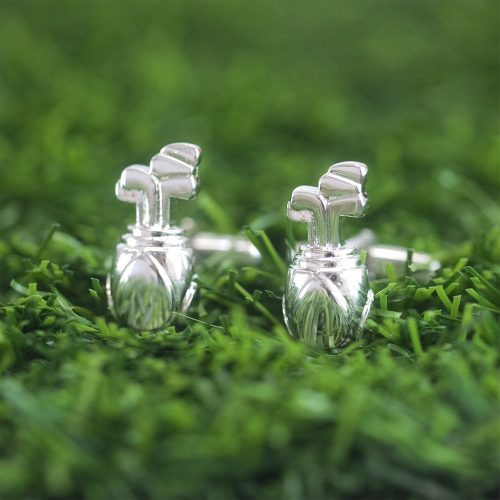 Golf Bag Cufflinks with Personalised Gift Box