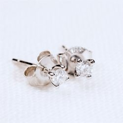 Solitaire Diamond Stud Earrings with Personalised Gift Box