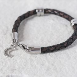 Love You To The Moon and Back Leather Wristband