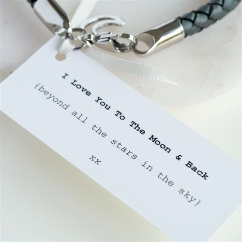 Love You To The Moon and Back Leather Wristband Love Note