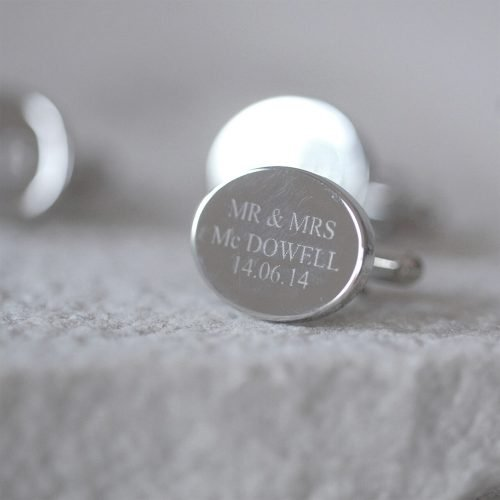Personalised Oval Cufflinks Engraved Text
