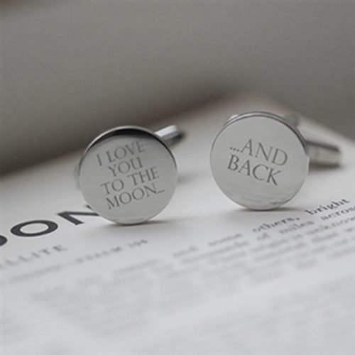 I Love You Cufflinks With Personalised Gift Box
