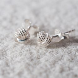 Tying The Knot Stud Earrings with Personalised Gift Box