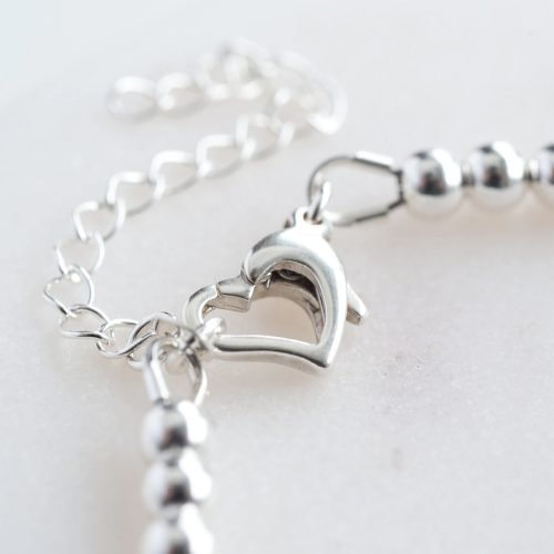 Personalised Silver Heart Clasp Bracelet with Gift Box
