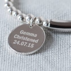 Personalised Silver Heart Clasp Bracelet Engraved Pendant