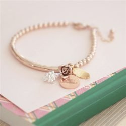Personalised Bouquet Rose Gold Bracelet with Gift Box